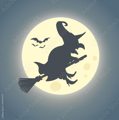 Fotografía  Halloween Hexe auf Hexenbesen reitet im Mondschein - Vektor
