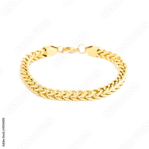 Leinwand Poster Fashion golden bracelet isolated on white