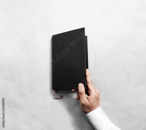 Hand Open Blank Black Book Cover Mock Up Template Clear Booklet