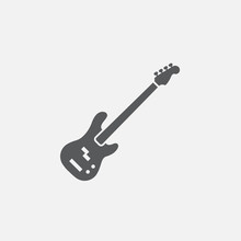 Bass Guitar Icon Vector, Solid...
