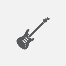 Electric Guitar Icon Vector, Solid Logo Illustration, Pictogram Isolated On White