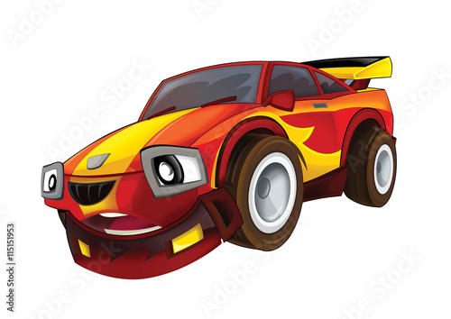 Staande foto Cartoon cars Cartoon fast car - isolated - illustration for the children