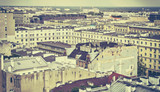 Old film retro stylized picture of Warsaw downtown. - 115153573