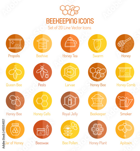 Photo Set of outlined honey and beekeeping vector icons