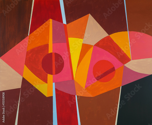 An abstract painting; predominantly warm colour - 115158908