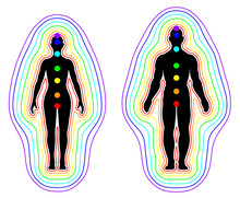 Human Aura And Chakras On Whit...