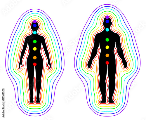Photo Human aura and chakras on white background - vector illustration