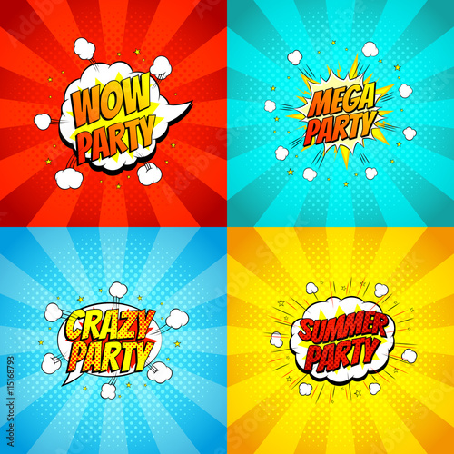 Fotobehang Pop Art Set of symbols of disco party in pop art style. Vector illustration. Decorative collection of backgrounds with bomb explosive.