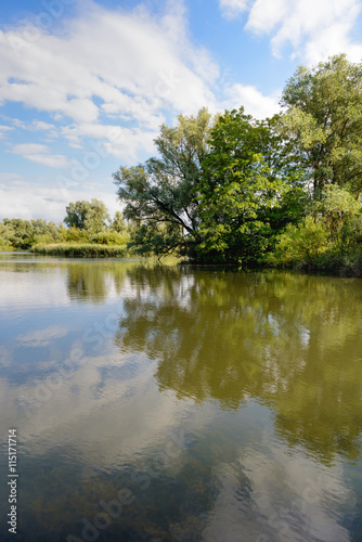 Photo Stands United States Small lake with trees on the shore