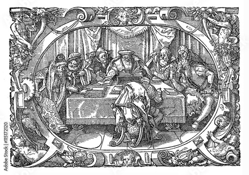 Fotografija  Sitting of the court, Renaissance illustration