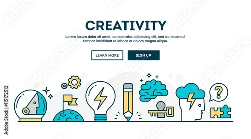 Fotografie, Obraz  Creativity, colorful concept header, flat design thin line style