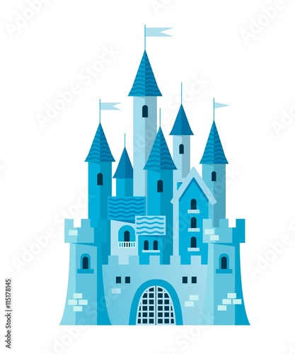 Illustration of a cute blue castle vector - 115178145