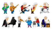 Vector Set Of Old Man Playing Music Illustrations.