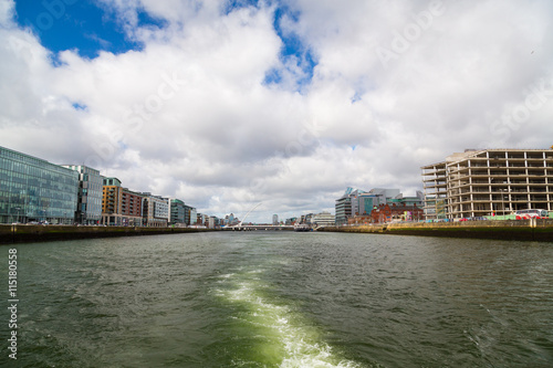 Photo  A view along the quays in Dublin City, Ireland
