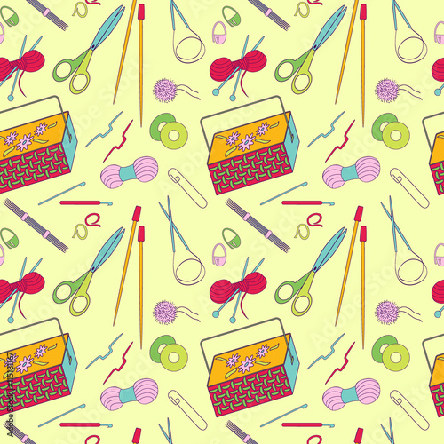 Seamless Pattern Of Knitting And Crafts Icons Knitting Needles Yarn Thread Crochet Hooks Basket Background For Use In Design Web Site Packing Wallpaper Textile Vector Illustration Buy This Stock Vector And