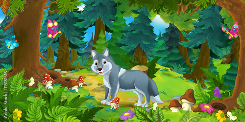 Cartoon scene with happy wolf standing in the forest - illustration for children