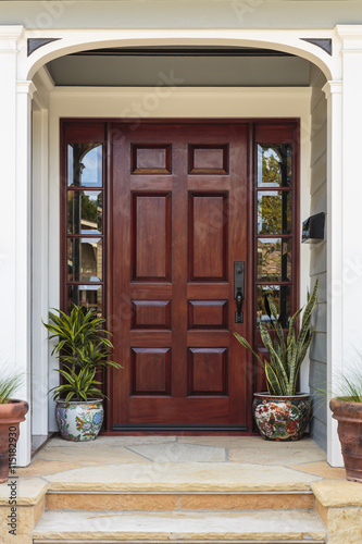 Front door, front view of a brown front door with plants and stone steps Canvas Print