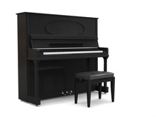 Small Upright Piano With Piano Bench - On White Background