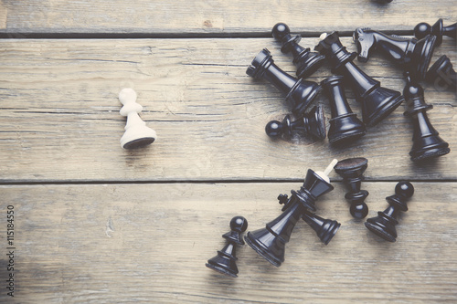 chess pieces on table Canvas Print