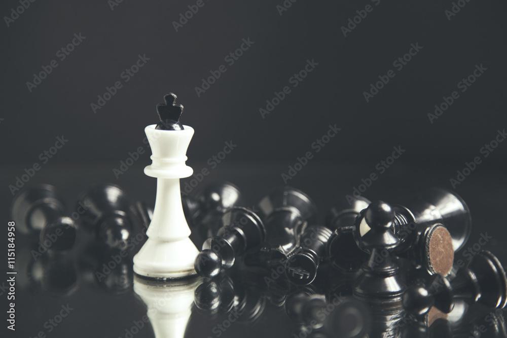Photographie  Pièces d'échecs couchés