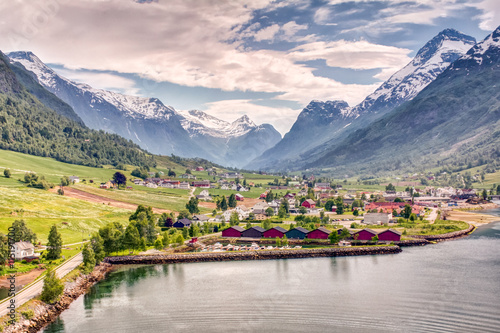 Foto op Plexiglas Noord Europa Olden Norway Mountain View