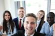People taking selfie at business meeting