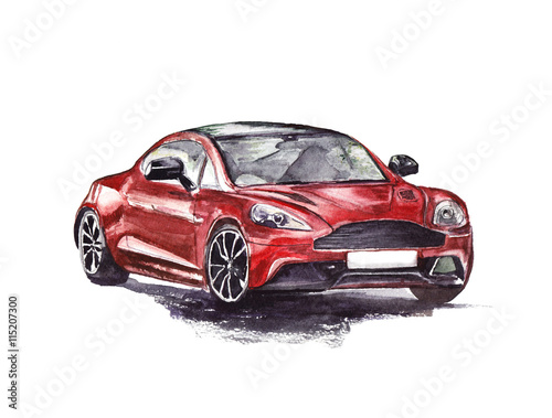 Red sport car. Original hand drawn watercolor painting.