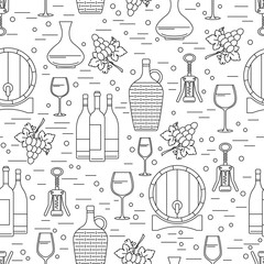 Seamless pattern with winemaking design element on white