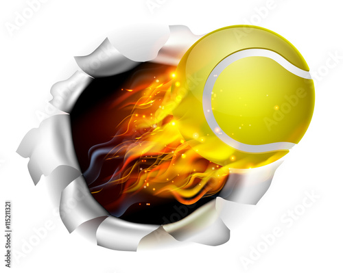 Flaming Tennis Ball Tearing a Hole in the Background Wallpaper Mural