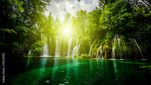 Tuinposter Watervallen waterfalls in the forest