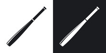 Vector Baseball Bat Icon. Two-tone Version On Black And White Background