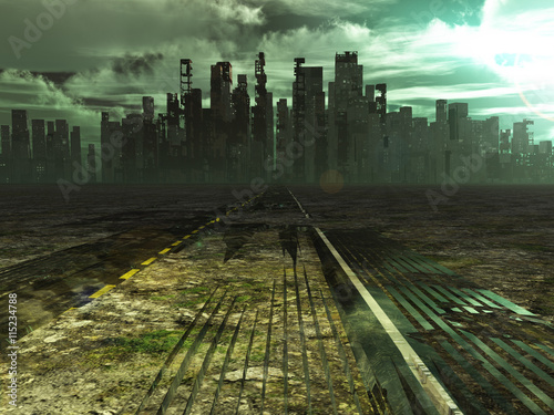 Photo  Weathered road leads into abandoned city