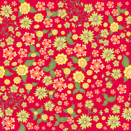 Seamless Ditsy Fl Pattern Flowers Background Vector Ilration Small Pink And Yellow