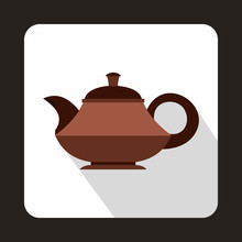 Brown Teapot Icon In Flat Style On A White Background