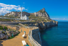 Europa Point With Ibrahim-al-Ibrahim Mosque And The Profile Of Gibraltar Rock. Europa Point Is The Southernmost Point Of Gibraltar,a Territory Of South West Europe Which Is Part Of The United Kingdom.