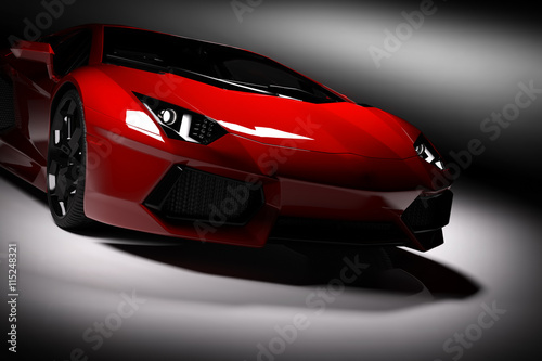 plakat Red fast sports car in spotlight, black background. Shiny, new, luxurious.
