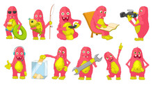 Vector Set Of Big Pink Monsters Cartoon Illustrations.
