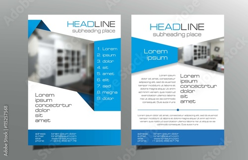 Grey, blue brochure flyer template design vector  Leaflet