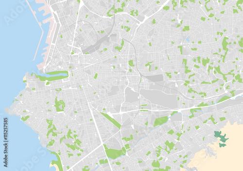 Plakat wektorowa mapa miasta Marsylia, Francja