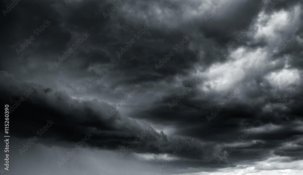 Fototapeta Dramatic thunder storm clouds at dark sky