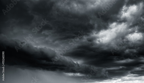 Fotobehang Hemel Dramatic thunder storm clouds at dark sky