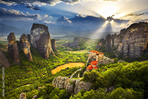 Greece. Meteora - incredible sandstone rock formations. The Holly Monastery of Rousanou and St. Nikolaos Anapafsas Monastery in the background. The Meteora area is on UNESCO World Heritage List