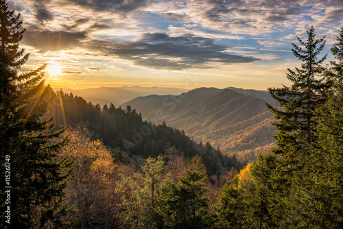 Poster Bergen Great Smoky Mountains, autumn sunrise Tennessee