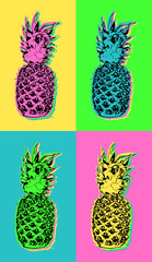 Fototapeta Popart Pop art design with colorful summer pineapple