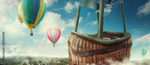Spoed Foto op Canvas Ballon Colorful balloons flying in the mountain