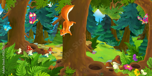Cartoon scene with happy squirrel on the tree - in the forest - illustration for children