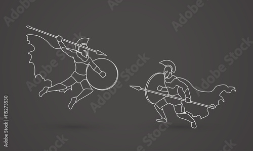 Spartan warrior fighting with a spear outline graphic vector
