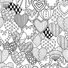 Seamless Black, White Pattern With Decorative Hearts For Coloring Book.