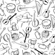 Seamless Musical Instruments Pattern Background