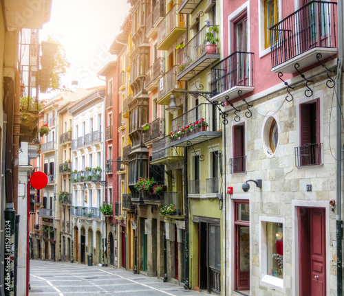 Foto Ancient street. Pamplona, Navarre, Spain.